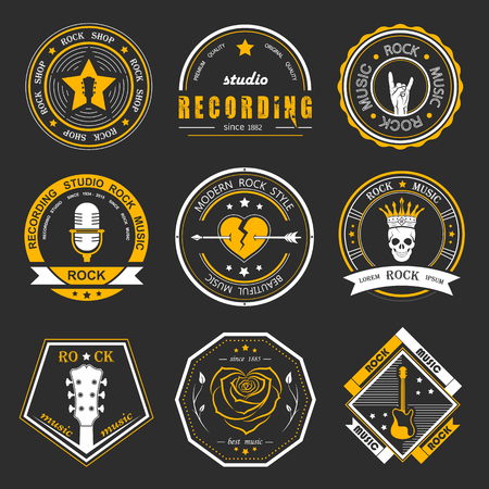 Set of  rock music and recording studios. Music design elements with font type and illustration vector. Vintage label Rock Beast ( T-Shirt Print ). Vettoriali