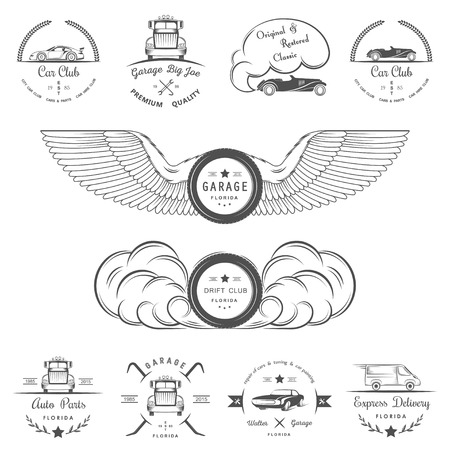 auto shop: Set of vintage car club, drift club, auto parts and garage labels, badges and design elements. Badges trucks, vintage cars and sports cars. Illustration