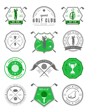 Vector Set Of Golf Club Logos, Labels And Emblems. Golfer Playing ...