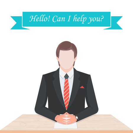 broker: Vector illustration of the seller, the dealer, the manager or the broker at his desk. Illustration of a man in suit and tie isolated on a white background - Stock Vector Illustration