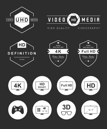 formats: Television set symbols isolated on black background. Vector collection label, sign, logo and badges tv, smart tv, and others formats tv and definition - Stock Vector.