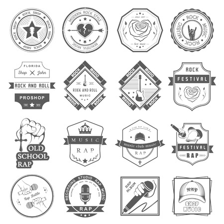 Set of vector badges and logos of rock music and rap classical music, electronic music and disco. The collection of symbols and emblems for printing T-shirts, festivals and parties.