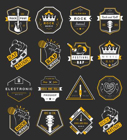 electronica musica: Conjunto de insignias de vectores y logos de la música rock y el rap de la música clásica, la música electrónica y la música disco. La colección de símbolos y emblemas para la impresión de camisetas, festivales y fiestas. Vectores