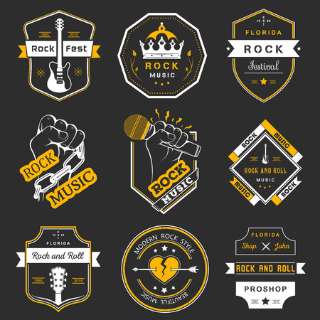the rock: Set of logos rock music and recording studios. Music design elements with font type and illustration vector. Vintage label Rock Beast ( T-Shirt Print ).