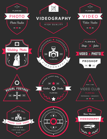 video shooting: Vector collection of photography and videography logo templates. Photocam, wedding and aerial footage logotypes. Photography vintage badges and icons. Modern mass media icons. Photo labels. Illustration