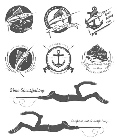 spearfishing: Big set of logos, badges, stickers and prints spearfishing isolated on white background. Premium vector label for spearfishing and underwater swimming - Stock Vector Illustration