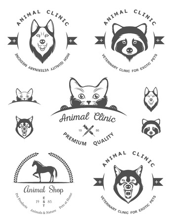 foxes: Set of vintage logo and logotype elements for pet shop, pet house, pet and exotic animals clinic. Illustration