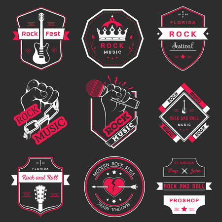 recording: Set of logos rock music and recording studios. Music design elements with font type and illustration vector. Vintage label Rock Beast ( T-Shirt Print ).