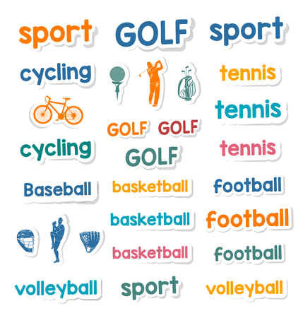 Big set of vector stickers and labels of sports and games: football, basketball, volleyball, baseball, tennis, cycling, golf. Collection of icons, symbols and badges - Stock Vector Vector