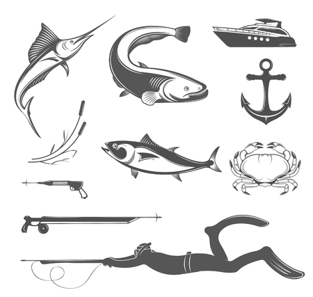 Vector set of icons and silhouettes of equipment and types of fish and underwater animals on white isolated background. Badges and labels for spearfishing - Stock Vector