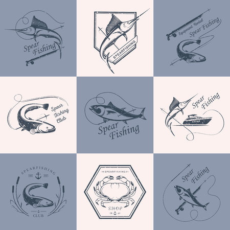 spearfishing: Big set of logos, badges, stickers and prints spearfishing isolated on a color background. Premium vector label for spearfishing and underwater swimming - Stock Vector Illustration