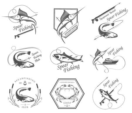 Big set of logos, badges, stickers and prints spearfishing isolated on white background. Premium vector label for spearfishing and underwater swimming - Stock Vector Vector
