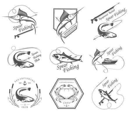 bagre: Gran conjunto de logotipos, insignias, pegatinas e impresiones de la pesca submarina aislada en el fondo blanco. Vector de la etiqueta Premium para pesca submarina y natación subacuática - Imagen vectorial Vectores