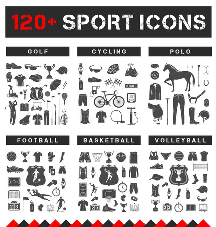 Big set of vector sign and icons of equipment, clothes and players of football, volleyball, basketball, polo, cycling and golf. Symbols of people, animals, vehicles - sports equipment.