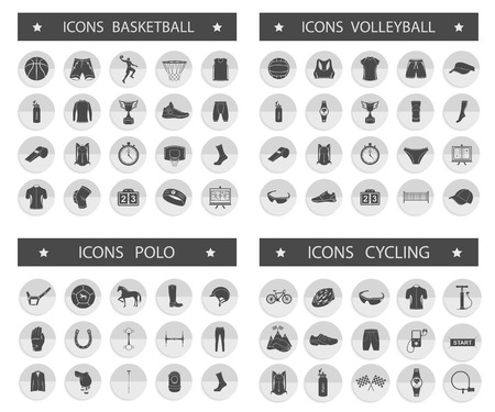 Big set of vector silhouettes and icons of equipment, clothes and players of volleyball, basketball, polo and cycling. Symbols of people, animals, vehicles - sports equipment. Vector