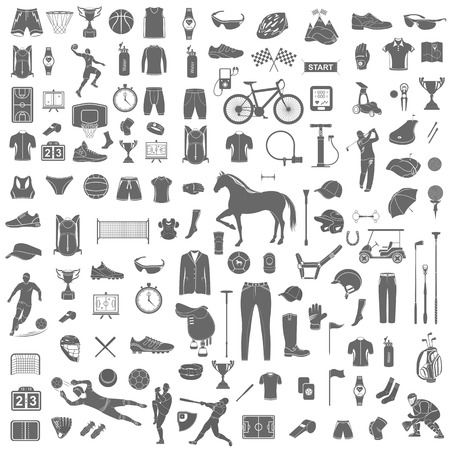 Big set of vector silhouettes and icons of equipment, clothes and players of football, volleyball, baseball, basketball, polo, cycling and golf. Symbols of people, animals, vehicles - sports equipment. Vector