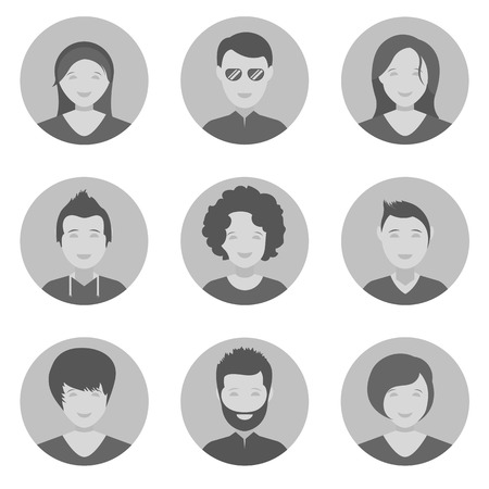 head icon: The collection of symbols and icons of people in black and white style. Set avatars interface sites, applications and programs. Illustration