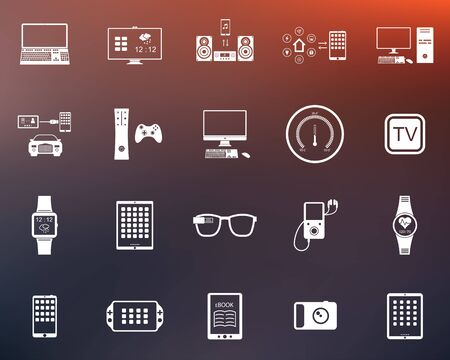home audio: Icons set of smart devices, modern wearable electronics, audio and video gadgets, communication systems and home control and the vehicle - stock vector. Illustration