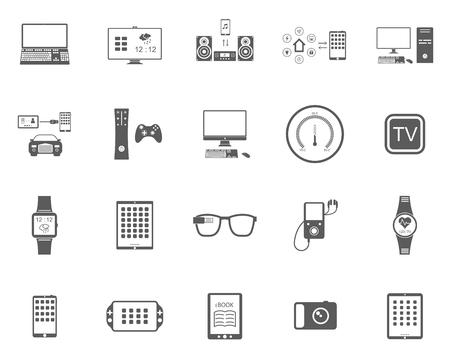 スマート デバイス、モダンなウェアラブルな電子機器、オーディオとビデオのガジェット、通信システムと、ホーム コントロール、車輌 - 株式ベク  イラスト・ベクター素材