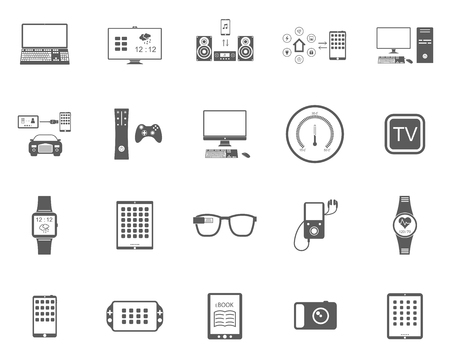 Icons set of smart devices, modern wearable electronics, audio and video gadgets, communication systems and home control and the vehicle - stock vector. 矢量图像