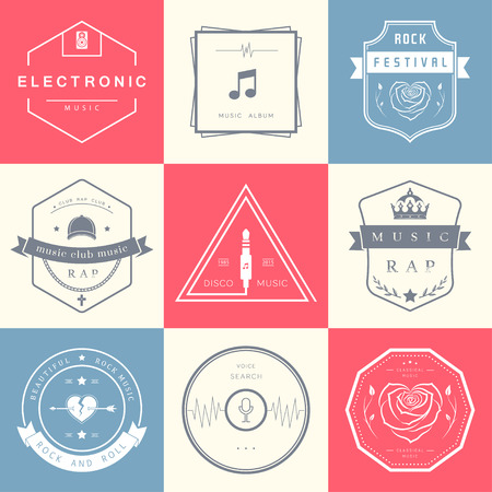 Vector badges rock music, rap, classical and electronic music. Vector festivals and concerts, elements of web design and voice search, prints for T-shirts. Illustration