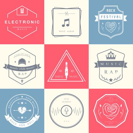 musica electronica: Vector insignias m�sica rock, rap, m�sica cl�sica y la m�sica electr�nica. Festivales y conciertos vector, elementos de dise�o web y la b�squeda de voz, impresiones de camisetas.