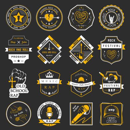Conjunto de insignias de vectores de la música rock y el rap de la música clásica, la música electrónica y la música disco. La colección de símbolos y emblemas para la impresión de camisetas, festivales y fiestas.