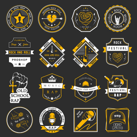 rap music: Set of vector badges of rock music and rap classical music, electronic music and disco. The collection of symbols and emblems for printing T-shirts, festivals and parties.
