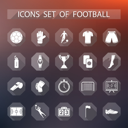 soccer equipment: Set of vector icons and symbols of football. Sign of soccer equipment and uniforms of players in flat style - stock vector. Illustration