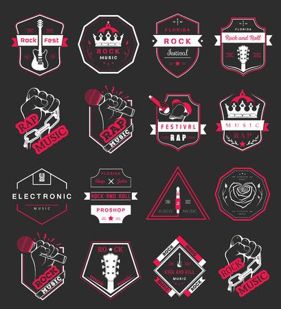 electronic music: Insieme dei distintivi di vettore di musica rock e rap musica classica, musica elettronica e discoteca. La raccolta di simboli ed emblemi per la stampa T-shirt, sagre e feste.