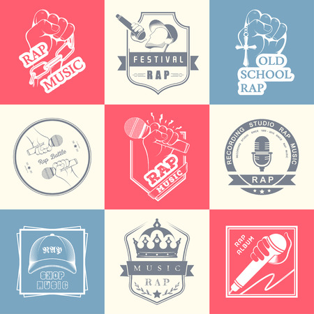 rap: Set of vector badges and stickers Hip Hop and Rap music. Collection of emblems rap battle, rap club and rap festival. Rap in style of Digital Art