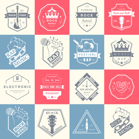 electronic music: Set of vector badges of rock music and rap classical music, electronic music and disco. The collection of symbols and emblems for printing T-shirts, festivals and parties.