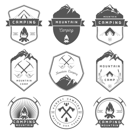 camping: Set of vector badges camping, hiking and outdoor activities. Collection of vintage emblems and symbols of woods camp, travel and mountain camping