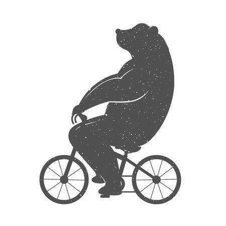 Vintage Illustratie beer op een fiets met Grunge effect. Grappig beer fietsen op een witte achtergrond voor posters en T-shirts. Stock Illustratie