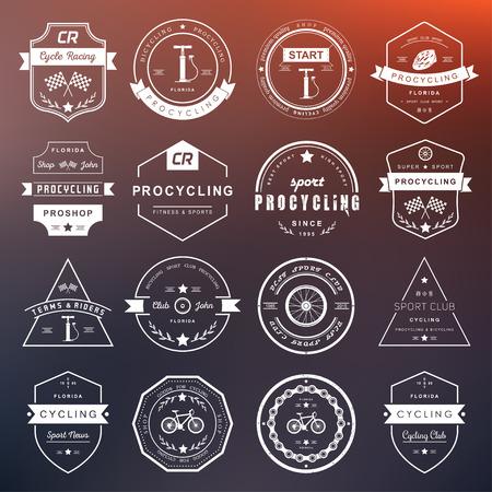 ciclismo: Conjunto de insignias de ciclismo. Símbolos y emblemas pro tienda de bicicletas y equipo, club de ciclismo y talleres de reparación.