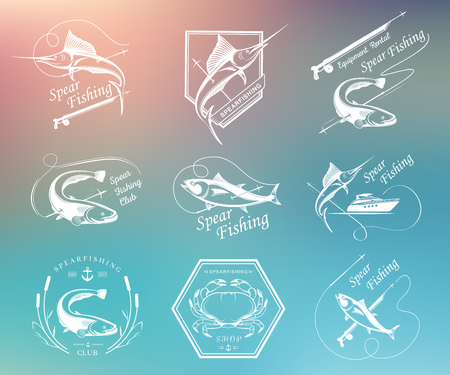 spearfishing: Big set of badges, stickers and prints spearfishing isolated on blur background. Premium vector label for spearfishing and underwater swimming - Stock Vector