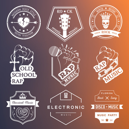 disco: Set of vector badges of rock music and rap classical music, electronic music and disco. The collection of symbols and emblems for printing T-shirts, festivals and parties.