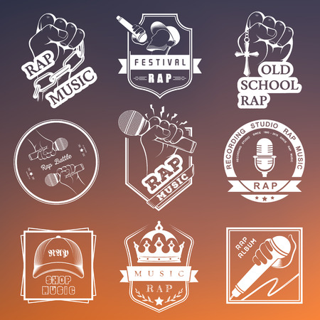 rap: Set of vector of badges and stickers Hip Hop and Rap music. Collection of emblems rap battle, rap club and rap festival. Rap in style of Digital Art Illustration