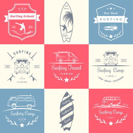 Set of vector and badges surfing, camping, hiking and outdoor activities. The collection of symbols and emblems surf clubs, surf schools, rental, camping and beaches