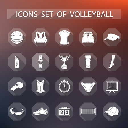 sports clothing: Volleyball icon set - stock vector. Large set of symbols and icons of volleyball. Sports equipment, protection, trackers, silhouettes of players, uniforms, clothing and shoes.