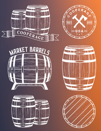cask: Vector set of barrels in vintage style. Collection barrels on a white background - stock vector.