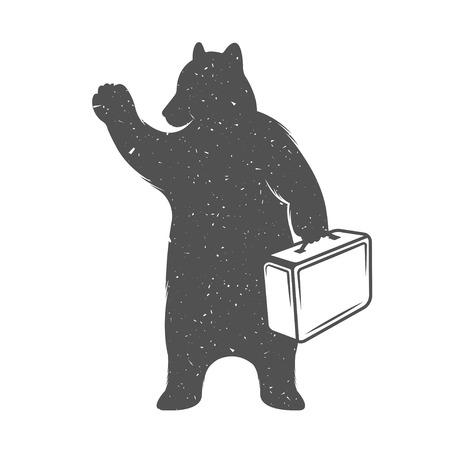 oso: Oso ejemplo del vintage con la maleta - Grunge efecto. Divertido viajero oso que hace autostop en un fondo blanco para carteles y camisetas.
