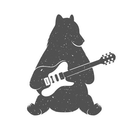 guitarra: Oso ejemplo del vintage con la guitarra - Grunge efecto. Divertido oso m�sico con la guitarra aislada en el fondo blanco para los carteles, clubes Camisetas de m�sica y servicios de m�sica Web.