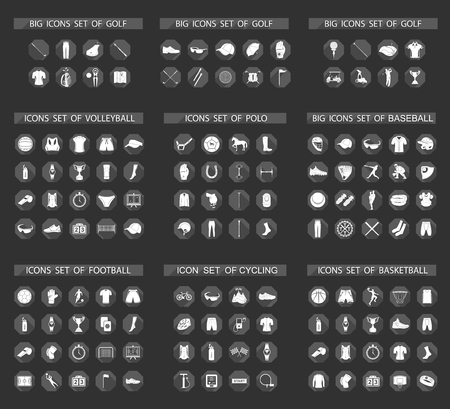 biking glove: Big set of vector flat sign and icons of equipment, clothes and players of football, volleyball, baseball, basketball, polo, cycling and golf. Symbols of people, animals, vehicles - sports equipment