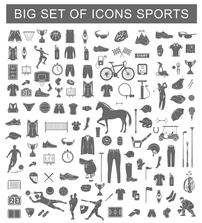 biking glove: Big set of vector silhouettes and icons of equipment, clothes and players of football, volleyball, baseball, basketball, polo, cycling and golf. Symbols of people, animals, vehicles - sports equipment. Illustration