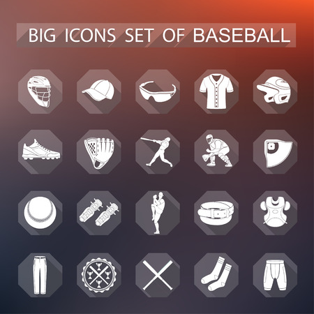 minimalist style: Set of vector icons flat on a black background. The icons on the theme of sports, baseball and athletics in a minimalist style. Illustration