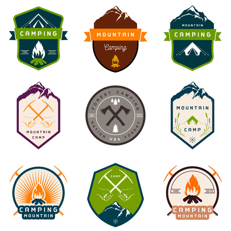 Set of vector and badges camping, hiking and outdoor activities. Collection of vintage emblems and symbols of woods camp, travel and mountain camping