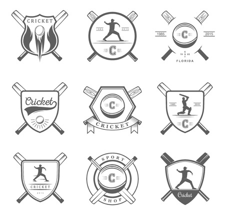 cricket: Set of vector logos and badges cricket. Collection of vintage signs, symbols and emblems sports game of cricket on a white isolated background. Set of cricket team emblem design elements