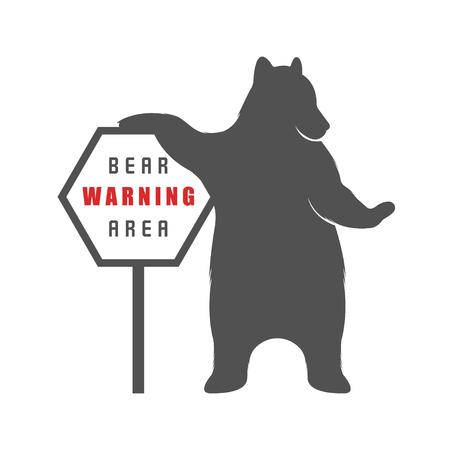 Vintage Illustration bear with sign