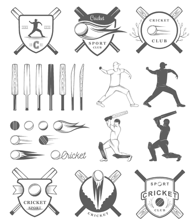 cricket: Set of vector  and badges cricket. Collection of vintage signs, symbols and emblems sports game of cricket on a white isolated background. Set of cricket team emblem design elements